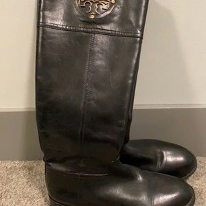 Tory Burch Black Leather Boots - like new!